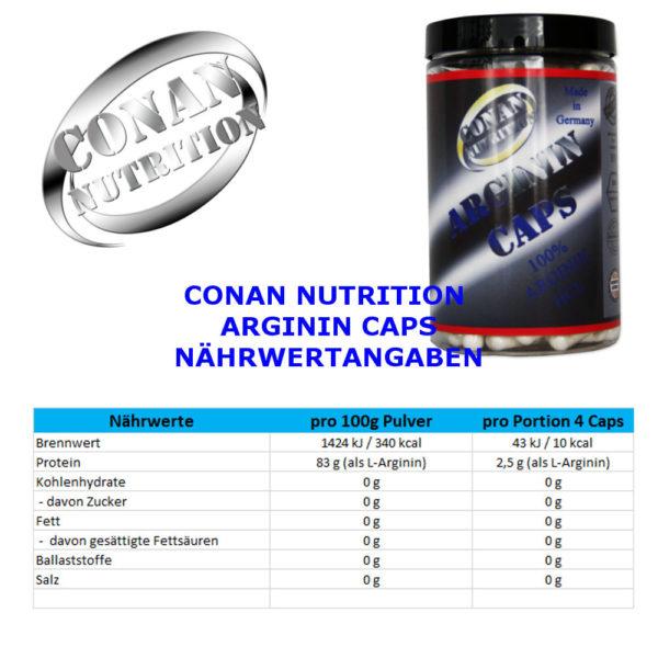 CONAN NUTRITION - ARGININ CAPS -NÄHRWERTANGABEN