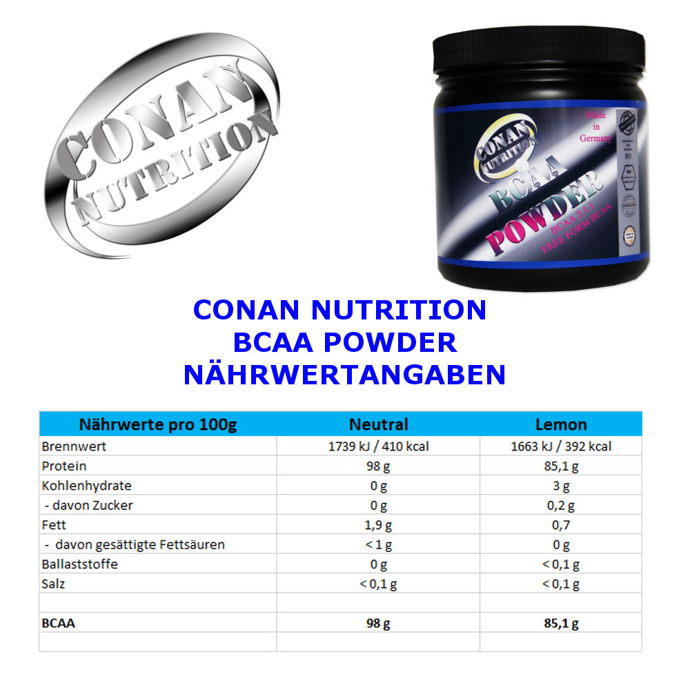 CONAN NUTRITION - BCAA POWDER -NÄHRWERTANGABEN