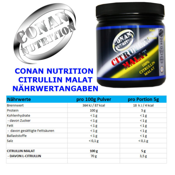 CONAN NUTRITION - CITRULLIN MALAT - NÄHRWERTANAGABEN